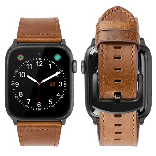 iBazal Compatible iWatch Series 4 Correa 44mm Cuero, Compatible iWatch Correa 42mm Piel Genuino Compatible iWatch Series 4/Series 3/Series 2/Series 1 42mm 44mm Hombres Mujer Reloj - Amable Marrón 42mm