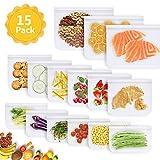 ASANMU Bolsas de Silicona Reutilizables, 15 Packs 3 Tamaños Bolsas Reutilizables para Almacenamiento de Alimentos Súper Grueso Sello Bolsas Congelador para Carne de Frutas Pescado Pan y Sandwich