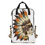 American Tribal Hat Icon Mochila casual portátil para mujeres/hombres, 14 pulgadas, mochila clásica de camping para viajes, al aire libre, colegio, escuela