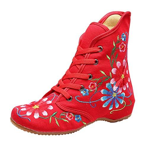 Stiefel Damen Westernabsatz Kurzschaft Schnürstiefel Blumen Bestickt Stiefeletten High-top Steigern Sie innerhalb Schnürsenkel Schuhe (39 EU, Rot)