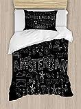 ABAKUHAUS Amsterdam Funda Nórdica, Doodle de Viajes Dibujos, Decorativo, 2 Piezas con 1 Funda de Almohada, 130 cm x 200 cm, del Gris y Blanca
