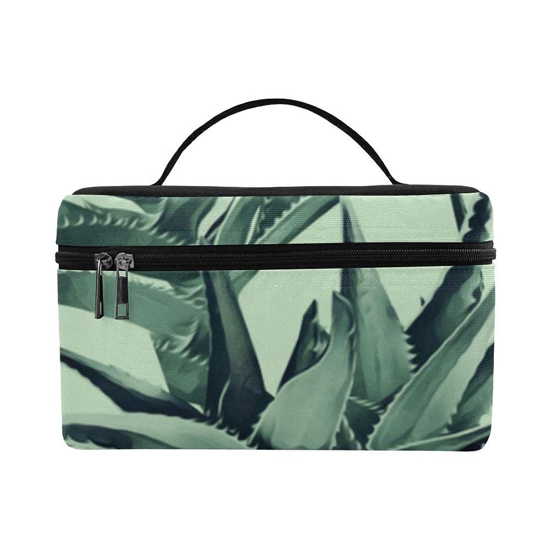 五アジア人コーラスTELSG メイクボックス 緑の植物 アロエ コスメ収納 化粧品収納ケース 大容量 収納ボックス 化粧品入れ 化粧バッグ 旅行用 メイクブラシバッグ 化粧箱 持ち運び便利 プロ用