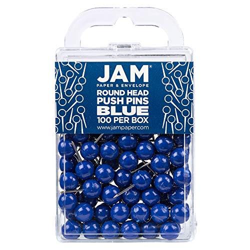 JAM PAPER Colorful Push Pins - Round Head Map Thumb Tacks - Blue Pushpins - 100/Pack