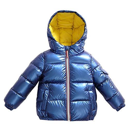 YFPICO Jungen Mädchen Winterjacke Daunenjacke mit Kapuze Kinder Warm Daunenmantel Wintermantel Steppjacke, Blau, 122/128 (Etikettengröße:130)
