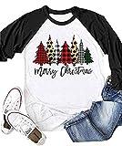 Women Merry Christmas Baseball T-Shirt Funny Plaid Leopard Printed Tree 3/4 Sleeve Graphic Tees Casual Raglan Sleeve Tops (Black, M)