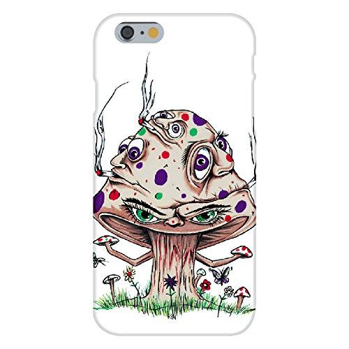 Apple iPhone 6 Custom Case White Plastic Snap On - High Mushroom Funny Shroom Smoking Joint Cartoon