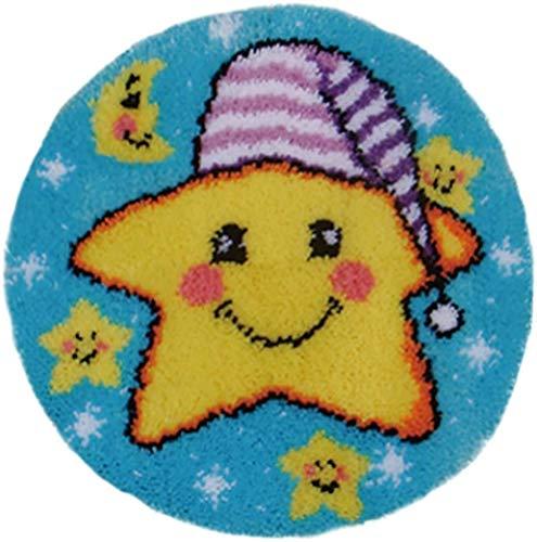 DIY Manta De Ganchillo Hilado Kits Juego de costura con flecos Latch Hook Rug Kit Kits de ganchillo for la decoración casera sonrisa de la historieta de la estrella de 50 x 50 cm hecho a mano, para Ki