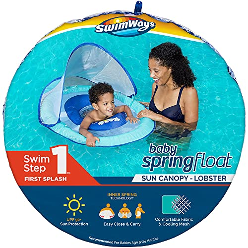 SwimWays Baby Spring Float Sun Canopy - Lobster Blue Lobster, 34