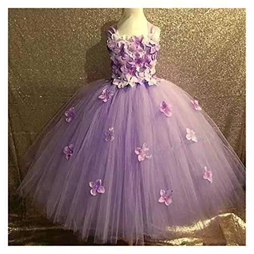 Youpin Vestido de boda para niñas de tul con flores de princesa, color rosa, de calidad, para niñas, vestido formal, tutú de princesa, (color: lavanda, tamaño para niños: 6T)