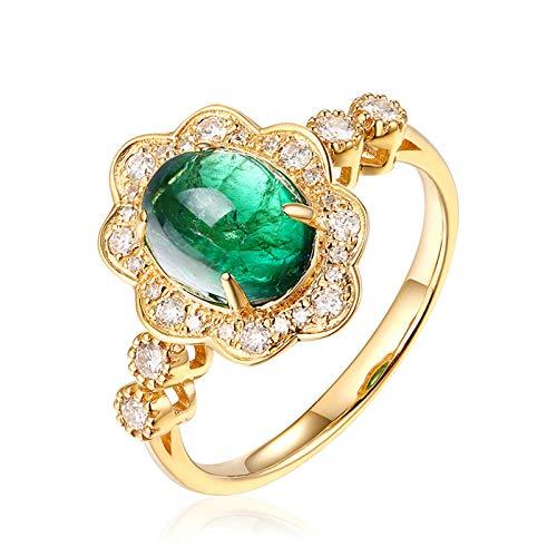 AueDsa Anello Verde Anelli Donna Oro Giallo 18K Vero Fiore Ovale Smeraldo Verde Bianca 1.9ct Taglia 25