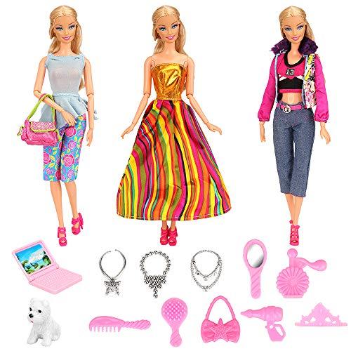 17 kleding en accessoires voor 11,5 inch meisjespoppen, 3 kledingset + 10 accessoires + 1 paar schoenen + 1 handtas + 1 hond + 1 laptop