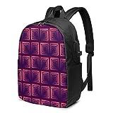 WEQDUJG Mochila Portatil 17 Pulgadas Mochila Hombre Mujer con Puerto USB, Mosaico Rojo Blanco Mochila para El Laptop para Ordenador del Trabajo Viaje