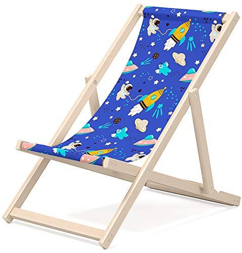 Chaise longue Novamat pour enfant - En bois - Pliable - Pour la plage, le jardin, le soleil - Balcon - Motif : fusées