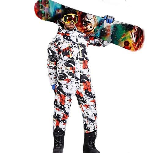 YUMUYMEY Männer Skianzug Winter-wasserdichte Starke warme Snowboard-Jacke One Piece Ski-Overall Sport Snowboard und Berg Skibekleidung (Farbe : Red, Size : S)