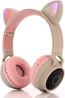 Bluetooth Headphones,Wireless Headphones,Headphone Over Ear,Kids Headphones,Cat Ear LED Light Up Bluetooth Foldable Headphones (White)