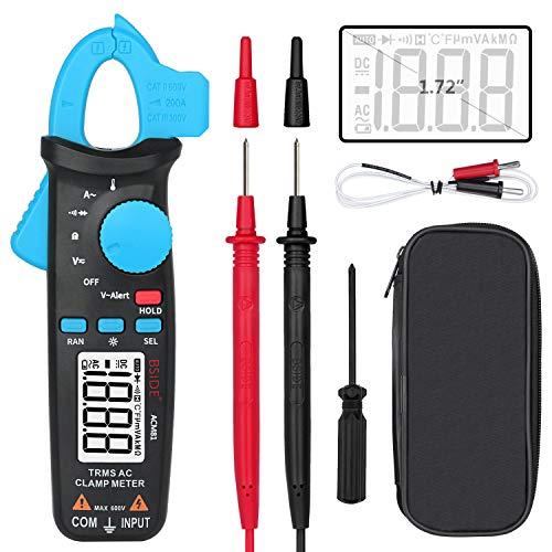 BSIDE ACM81 - Multímetro de pinza (1 mA, corriente de CA, RMS), amperímetro de rango automático, diodo de temperatura, ohmios, probador de voltaje de alerta V, con clip trasero