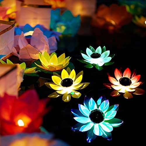 Solarbetriebene Lotus Laterne LED Schwimmende Blumen Solarleuchten Lotusblume Künstliche Seerosen Wasserdicht Solar Lotusblüte Lotusblatt Licht für Pool Teich Garten Deko