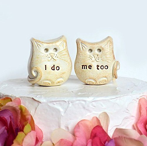 Cat wedding cake topper...cats in love... i do, me too, for cat and animal lovers...outdoor woodland rustic wedding