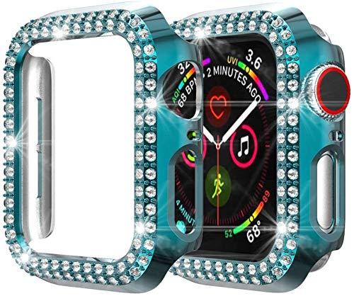LRJBFC Cubierta de la Caja del Protector de Pantalla PC para Apple Watch 6 SE 5 4 44mm 40mm Funda para Parachoques para iWatch 6 5 42mm 38mm (Color : MintBlue, Dial Diameter : 40mm)