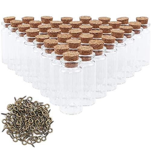 CDWERD 96 mini botellas de cristal con corcho, pequeñas botellas de cristal, con 100 tornillos de ojo, para guardar especias, arena, etc.