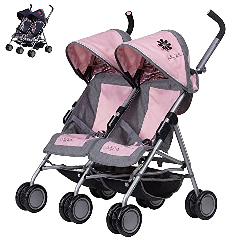 Daisy Chain Zipp Max, Passeggino gemellare per Bambole - Raccomandata per Bambini dai 4 ai 9 Anni. (Classic Pink)