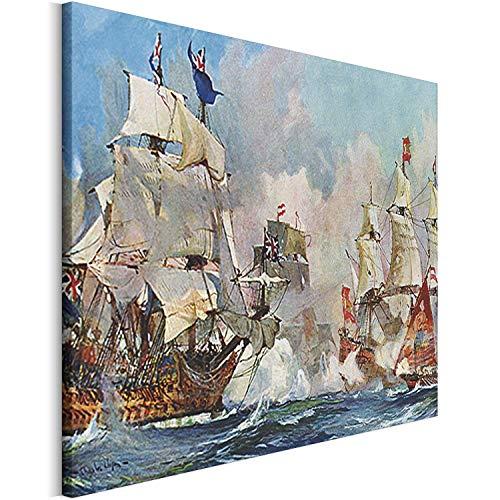 Revolio - Cuadro en Lienzo - Impresión artística - Decoracion de Pared - Tamaño: 120 x 80 cm - Pintura Batalla Naval Blanco