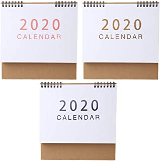 Yuxiale Simple Desktop Standing Paper 2020 Double Coil Calendar Memo Daily Schedule Table Planner Yearly Agenda Desk Organizer