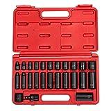 "Sunex 3325, 3/8 Inch Drive Master Impact Socket Set, 25-Piece, SAE, 5/16'-1"", Standard/Deep, Cr-Mo Steel, Radius Corner Design, Heavy Duty Storage Case, Includes Universal Joint"