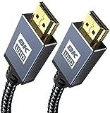 Cavo HDMI 8K 0.5M -Sweguard HDMI 2.1 8K@60HZ & 4K@120HZ ad alta velocità 48Gbps 2.1 HDMI con eARC HDR 3D HDCP 2.3 compatibile PS5, PS4, HDTV, PC, Xbox, monitor, grigio