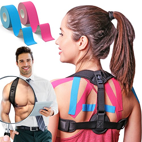 Posture Corrector for Women and Men   Improve Bad Posture   Front Adjustable Clavicle Brace   Back Brace for Posture Correction   2 Kinesiology Tapes Included by My Way Fitness