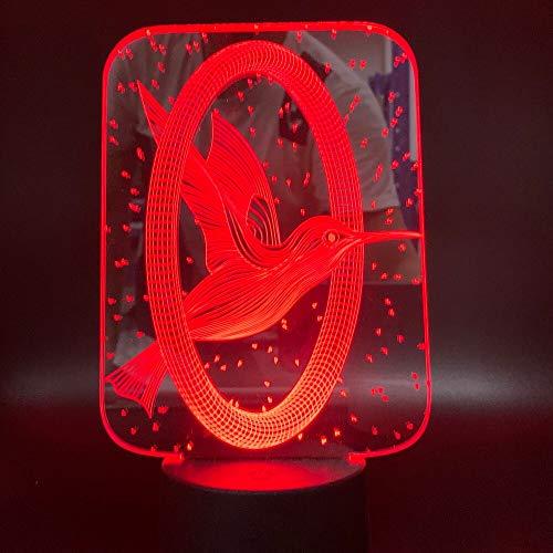HNXDP Film The Hunger Games 3 Mockingjay Logo 3D Lampe Farbwechsel Touch Schalter Nachtlicht für Home Office Deco Led Nachtlicht