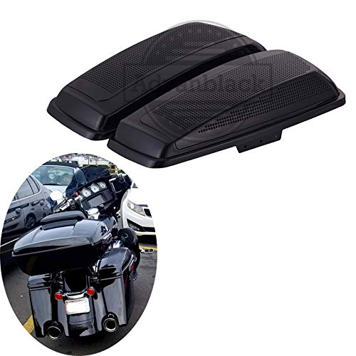 Moto Onfire Saddlebag Speaker Lids, Dual 6x9 inch, Vivid/Glossy Black, Audio Lid Fit for 2014 2015 2016 2017 2018 2019 2020 Harley Touring Road Glide, Street Glide Special