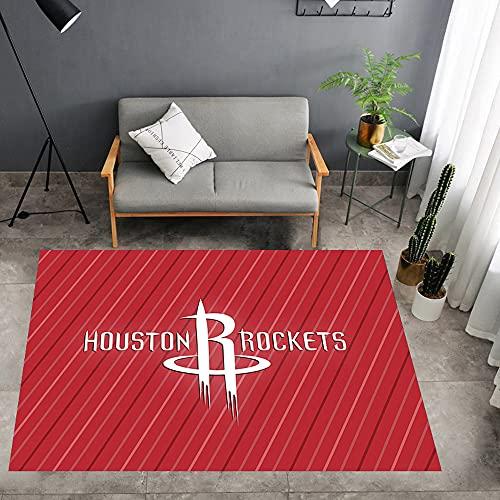 Tritow Alfombra con Logotipo de la NBA Alfombra de Baloncesto de EE. UU. Houston Rockets Alfombra para Interior/Exterior Alfombra Alfombrilla para el Suelo Dormitorio de fácil Limpieza Sala Juegos
