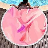 Tapete de yoga con borla, color rosa, de secado rápido, para niñas, color rosa, color Blanco, tamaño 59 inch