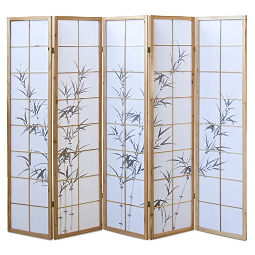 Homestyle4u 313, Paravent Raumteiler 5 teilig, Holz Natur, Reispapier Weiß Motiv Bambus, Höhe 175 cm