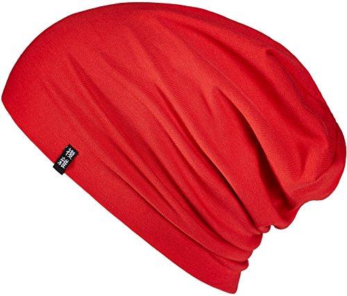 Enter the Complex® Leichte Jersey Mütze, Damen und Herren, Slouch Beanie aus Baumwolle, Elastisch, L/XL, Rot
