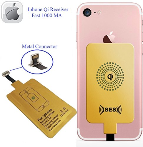 Wireless Charger, Wireless Receiver QI Receiver Charging Adapter Fast 1000 Ma for iPhone 5 5c SE 6 6 Plus 7 7 Plus Qi Charger Charging Receiver QI Wireless Charging Adapter QI Wireless Receiver