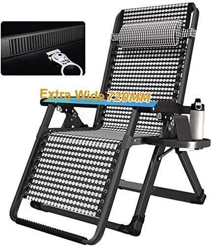 Silla de escritorio de oficina, sillas reclinables, sillas de jardín grandes, sillas de jardín, sillas inclinadas, gravedad cero, jardín, playa, puente solar, 200 kg (color negro sin almohadilla)