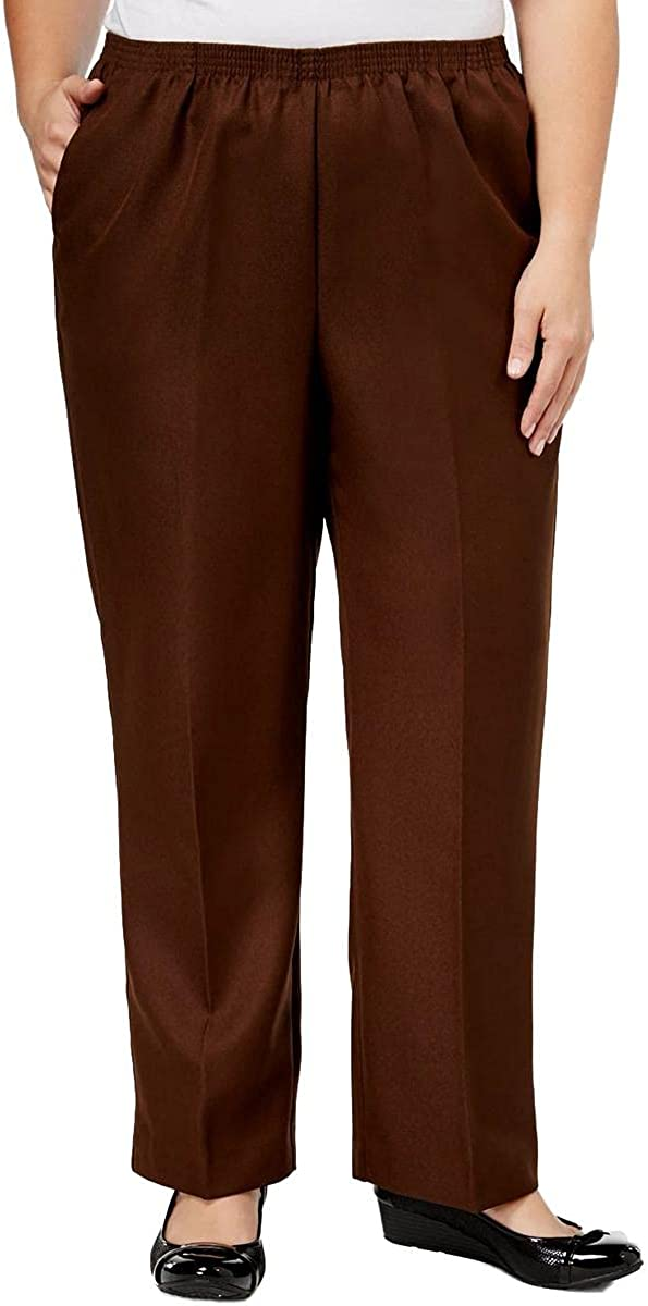 Alfred Dunner Womens Plus Classics Pleated Pull On Straight Leg Pants