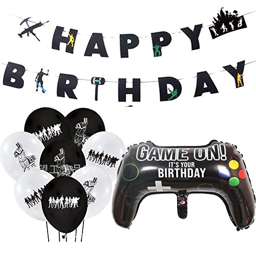 BESLIME Video Game Party Supplies Happy Birthday Gaming Banner, Welcome Hanging Decor and Gamer Themed Balloons for Boys and Grils Birthday Party