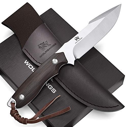 Wolfgangs AMBULO HUNTER Edles Outdoor Messer mit Leder Holster - Jagdmesser Feststehende Klinge - Aus einem Stück D2 Stahl gefertigt - Premium Survival Messer - Perfektes Bushcraft Messer Outdoor