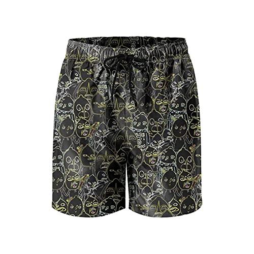 XCNGG Pantalones Cortos de Playa Earl of Lemongrab Lemon Person Candy Kingdom Black Mens Swim Trunks Pockets Mesh Lining Funny Swimwear