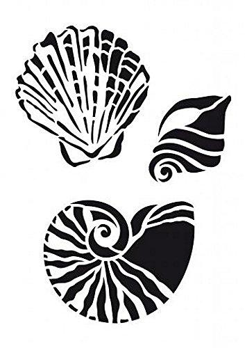 Universal Schablone Muschel stencil seashell A4 vintage shabby upcycling