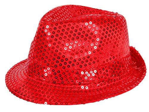 Alsino Fasching Hut mit Pailletten Glitzerhut (Th-58) - Farbe: rot - Kopfumfang: 58 cm Trilby