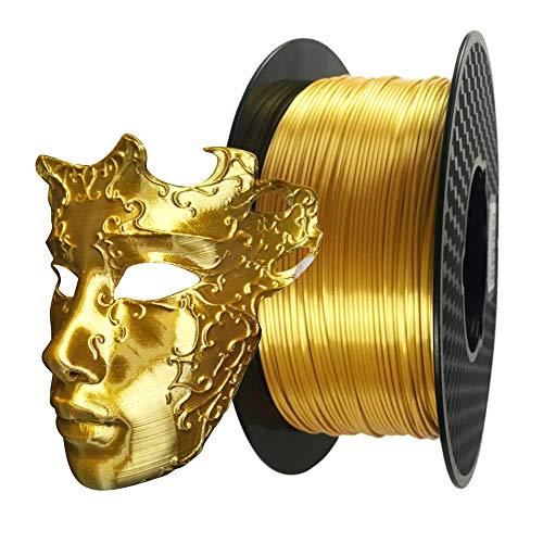 3D Printer Silk Gold PLA Filament 1.75mm 1KG 2.2LBS Spool 3D Printing Silky Shine PLA Materials Golden Color HZST3D