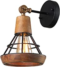 Giluta Conical Industrial Wood Wall Sconce with Cage Shade, Vintage Stylish Bathroom Lighting Log Cabin Home Retro Edison ...