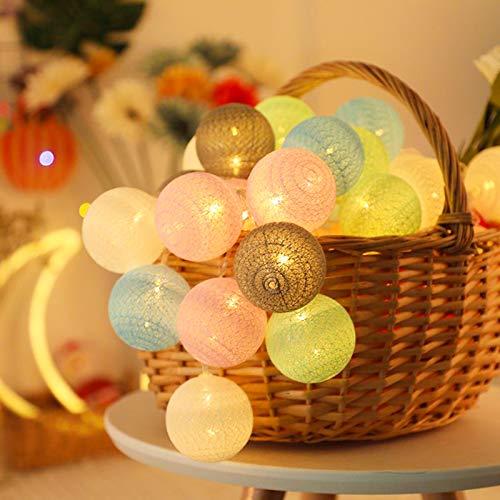 Molbory Lichterkette Baumwollkugeln USB, 3,5M 20 LED Kugel Lichterketten für Innen Deko, LED Lichterkette mit Cotton Balls, Lichterkette Kugeln für Weihnachten, Hochzeit, Party, Zimmer, Vorhang