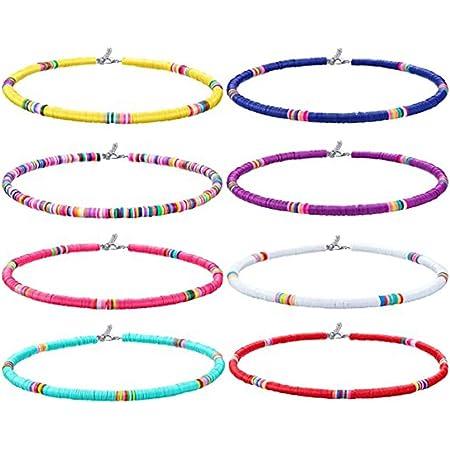 Yolistar 8 Piezas Collar de Surfero, Collar Bohemio de Cuentas de Vinilo Joyas Para Mujeres NiñAs, Boho Conjunto de Collar Para Cumpleaños Joyería de Amistad Regalo del día de La Madre