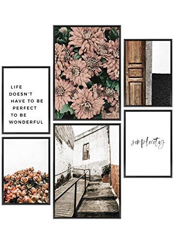 Heimlich® Premium Poster Set | Stilvolles Set mit passenden Bilder als Wohnzimmer Deko | 2 x DIN A3 & 4 x DIN A4 - ca. 30x42 & 21x30 | ohne Bilderrahmen » Floral Simplicity «