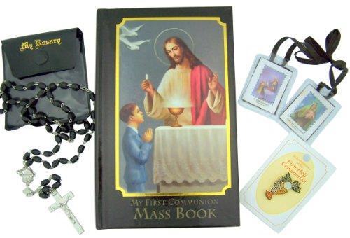 Regalo religioso para niño en primera comunión con Misal, Rosario, Pin de solapa y más